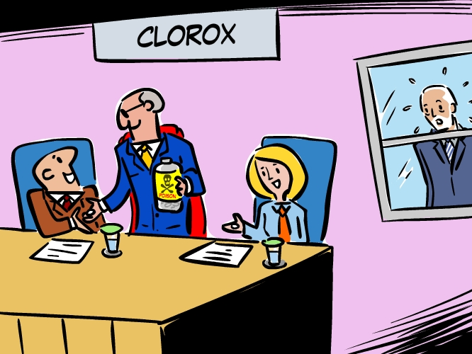 Cartoon showing Clorox Company using poison pill