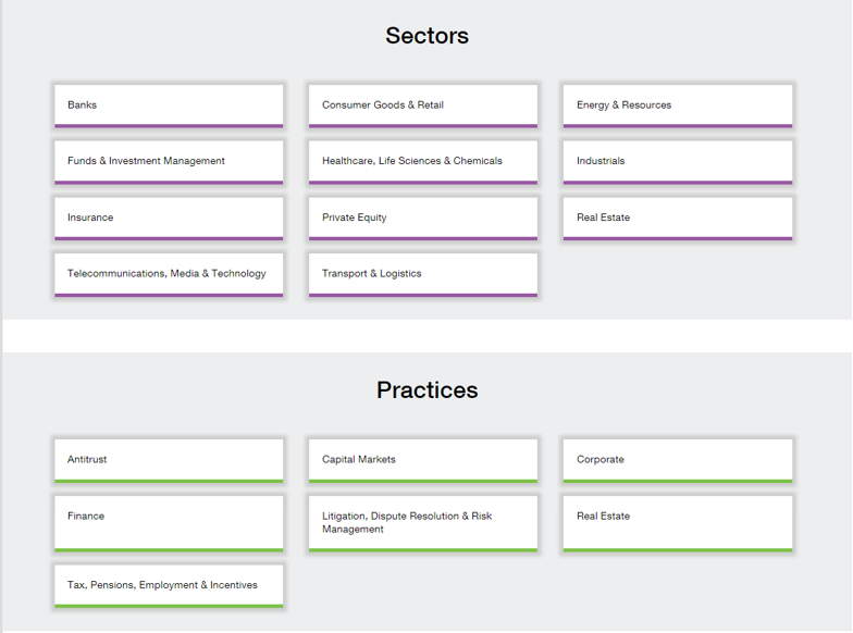 A screenshot of the Clifford Chance experience page showing you the practice areas and sectors