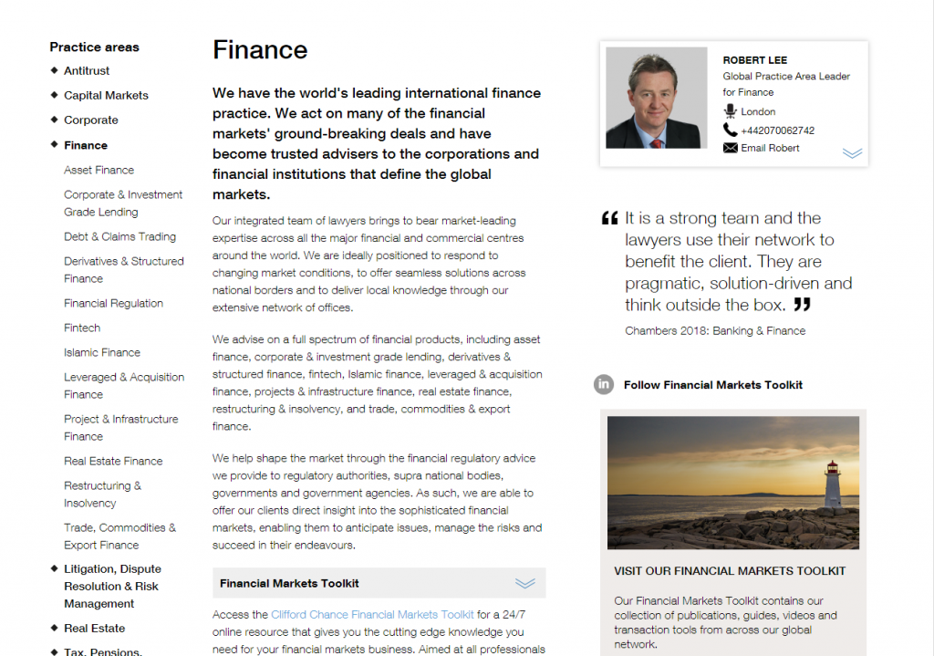 Screenshot of Clifford Chance's finance practice
