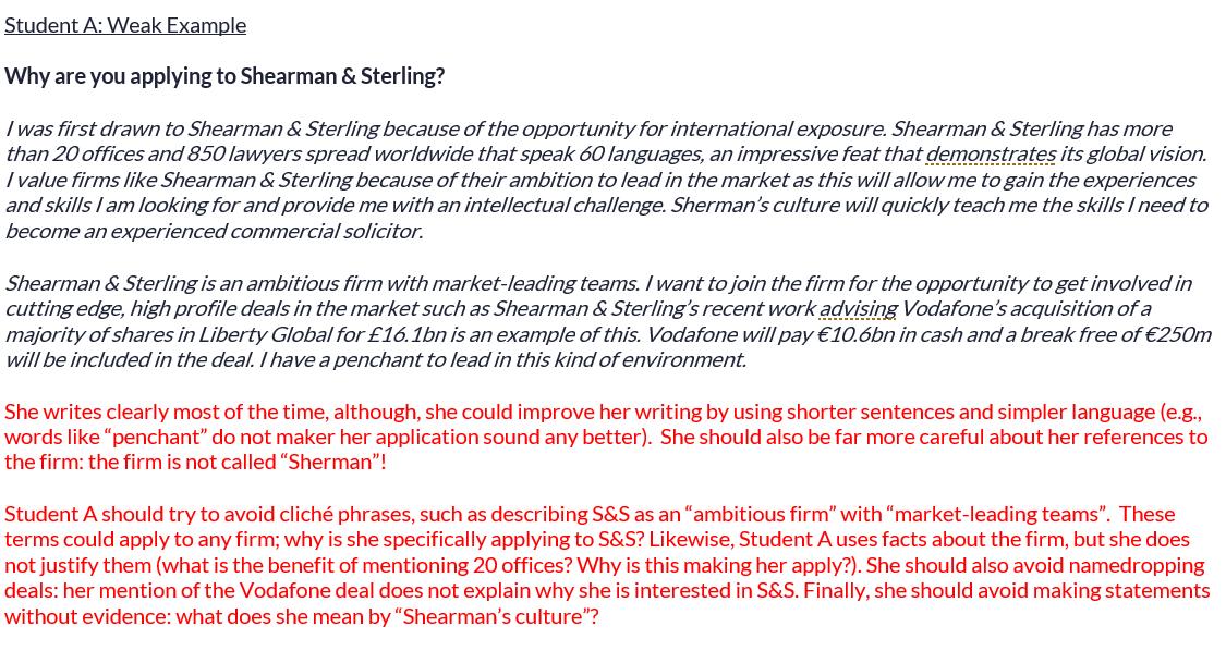 Shearman & Sterling application review