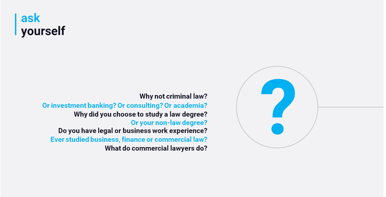 Examples to encourage you to think why you want to be a commercial lawyer