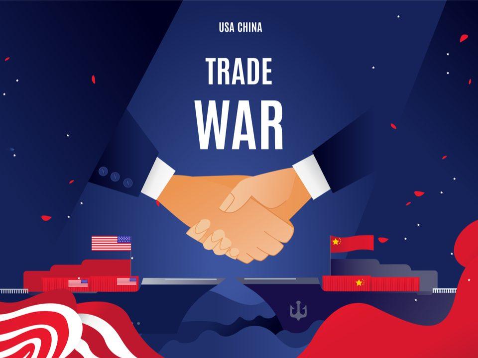 China US shaking hands trade war